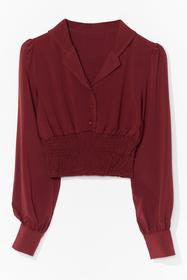 Nasty Gal Red Did You Shirr the News Button-Down B