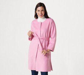 Isaac Mizrahi Live! Double Faced Wool Belted Coat