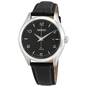 SeikoBlack Dial Men's Leather Watch