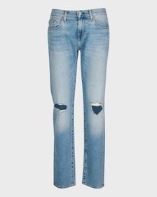 7 For All Mankind Low Straight with Distressing in