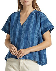 Joie - Theola Striped Linen & Cotton Top