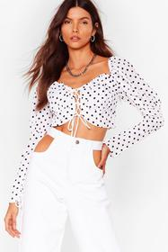 Nasty Gal White We've Polka Dot This Lace-Up Crop
