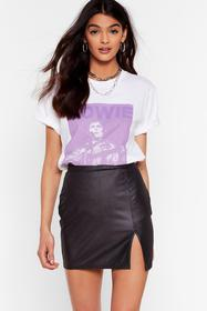 Nasty Gal Black Look At Me Now Wet Look Mini Skirt