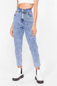 Nasty Gal Blue Fold You So Acid Wash Mom Jeans