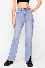 Nasty Gal Blue Slits Down to You High-Waisted Stra