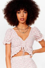 Nasty Gal White Flower of the Flock Ruffle Crop To