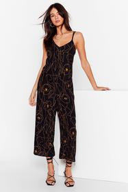 Nasty Gal Black Draw Me Like Relaxed Floral Jumpsu