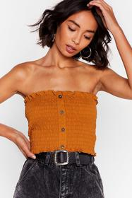 Nasty Gal Mustard Forget What You Shirred Bandeau