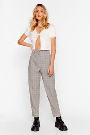 Nasty Gal Brown Square Are You Now Check Pants