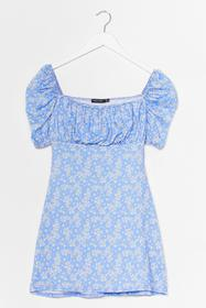 Nasty Gal Blue Mini Ditsy Bust Mini Dress