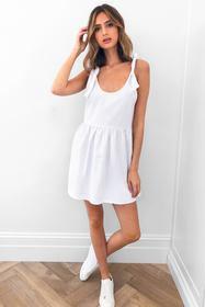 Nasty Gal White Smock 'Em Down Mini Dress