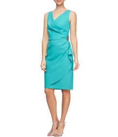 Alex Evenings V-Neck Sleeveless Ruched Sheath Dres