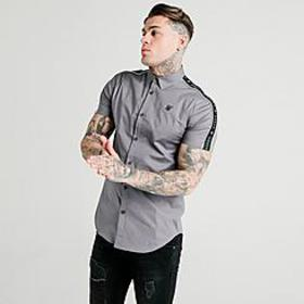 Men's SikSilk Piped Taped Short-Sleeve Button-Up S