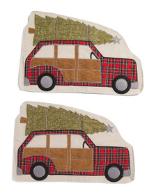 ASPEN Set Of 2 Holiday Car Placemats