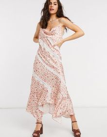 Ghospell floral maxi slip dress with lace inserts