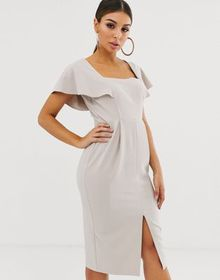 ASOS DESIGN angel sleeve midi dress