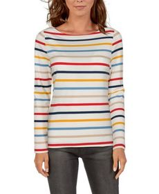 Natural Reflections Striped Boat-Neck Long-Sleeve