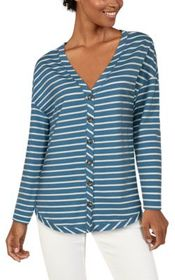 Natural Reflections Striped Tie-Front Long-Sleeve