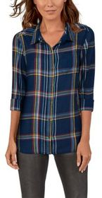 Natural Reflections Plaid Long-Sleeve Button-Down