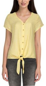 Natural Reflections Gingham Plaid Tie-Front Short-