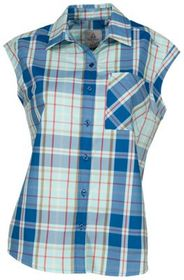 Ascend Plaid Button-Down Sleeveless Shirt for Ladi