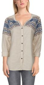 Bob Timberlake Embroidered Stripe Long-Sleeve Shir