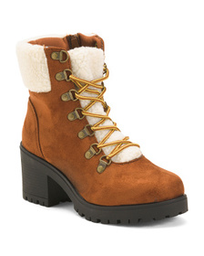 CATHERINE MALANDRINO Cozy Lined Lace-up Hiker Boot