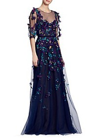 Marchesa Illusion Floral Applique Overlay Gown