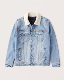 Sherpa Collar Denim Jacket, LIGHT MEDIUM WASH