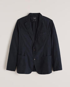 Stretch Cotton Blazer, NAVY BLUE