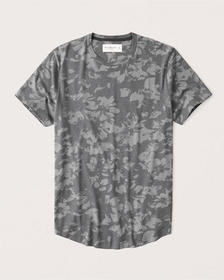 Curved Hem Pattern Tee, DARK GREY FLORAL