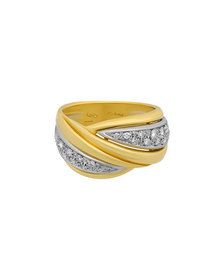 Salvini 18K Two-Tone Gold Diamond Parallel Ring Si