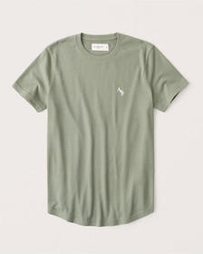 Curved Hem A&F Icon Tee, OLIVE GREEN