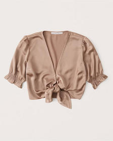 Tie-Front Satin Blouse, LIGHT BROWN