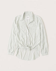 Drapey Button-Up Shirt, Light olive green stripe