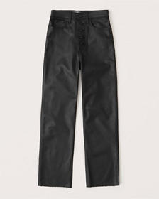 Ultra High Rise Ankle Straight Jeans, BLACK