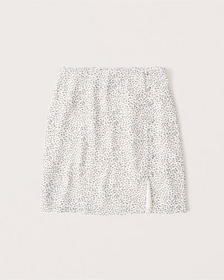 Button Detail Mini Skirt, WHITE PATTERN