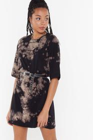 Nasty Gal Brown Not On My Acid Wash Tee Dress