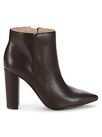 Saks Fifth Avenue Annie Stacked Heel Leather Booti