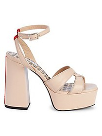 John Galliano Leather Ankle-Strap Platform Sandals