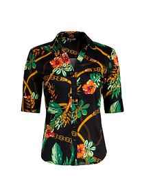 Tropical-Print Madison Stretch Shirt - Secret Snap