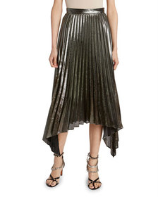 Altuzarra Lame Plisse Pleated Handkerchief Skirt