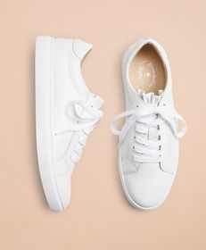 Brooks Brothers Ruffle-Trimmed Leather Low-Top Sne