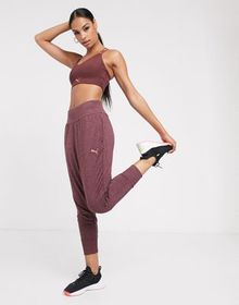Puma soft sport drapey pants in burgundy