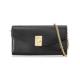 CelineLadies Black Leather Wallet With Chain Strap