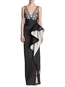 Marchesa Mikado Embellished Ruffle Gown