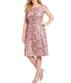 Alex Evenings Plus Size Cap Sleeve Rosette Lace Dr