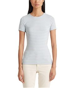 LAUREN Ralph Lauren Petite Striped Cotton Blend Te