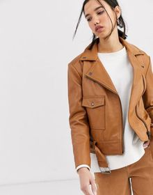 Muubaa boxy belted leather jacket in tonal color