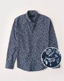Super Slim Poplin Shirt, NAVY BLUE FLORAL